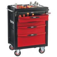 Composition de 217 outils avec servante 5 tiroirs pour le technicien de maintenance des hôtels et hôpitaux